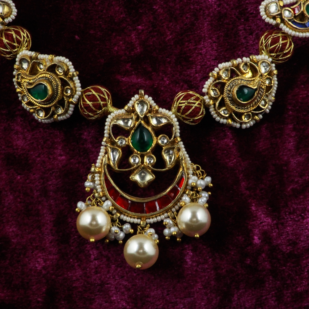 Kundan and Pearls Paisley Necklace with Pearls and Kundan Stones-8462