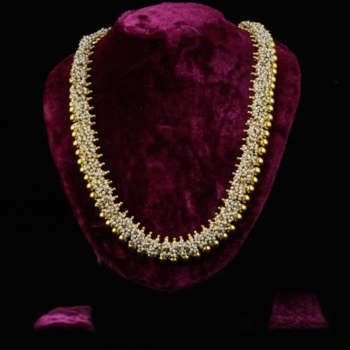 Gold-plated Pure Silver Necklace with Mini Pearls-0