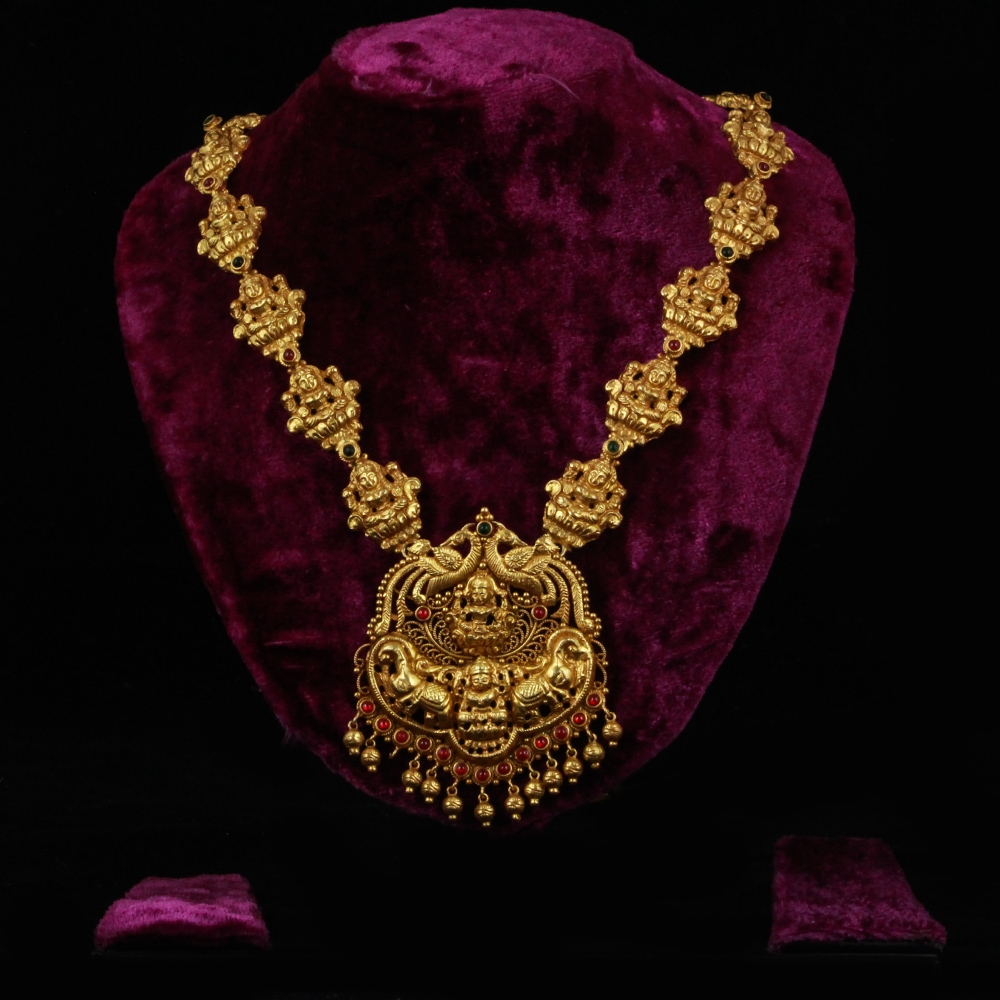 Gold-plated Pure Silver Necklace with Goddess Laxmi-0