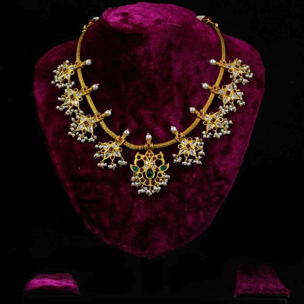 Gold-plated Pure Silver Necklace with Pearls and Kempstones-0