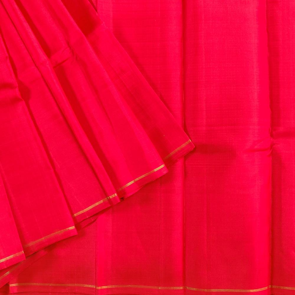 Vermilion Red Kanchipuram Silk Saree -7629