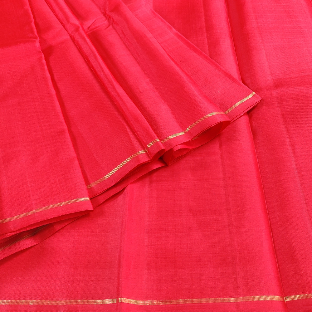 Vermilion Red Kanchipuram Silk Saree -0