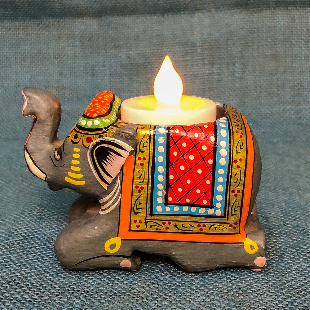 Wooden Elephant Tealight Holder-0