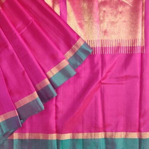 Pink Peacock Mubbagam Kanchipuram Saree-0