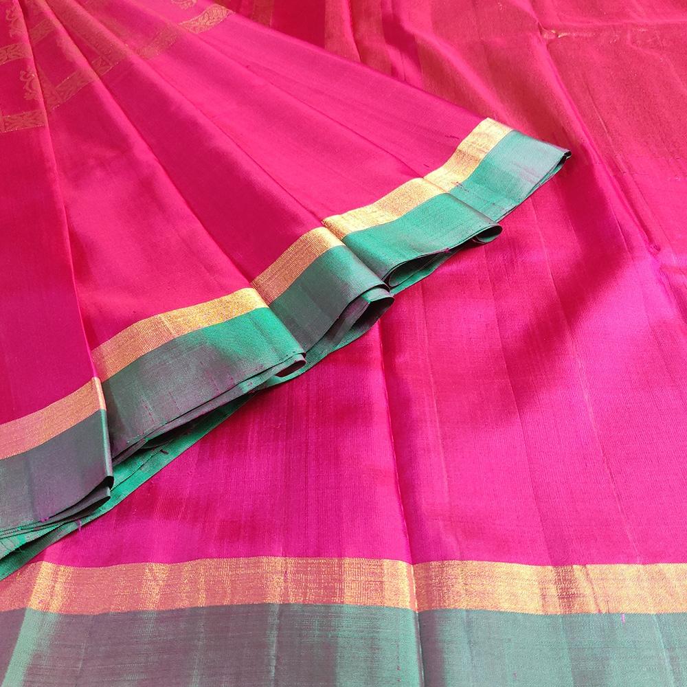 Pink Peacock Mubbagam Kanchipuram Saree-8674