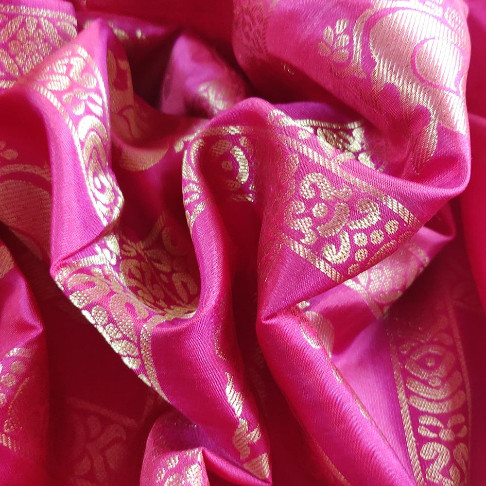 Pink Peacock Mubbagam Kanchipuram Saree-8675