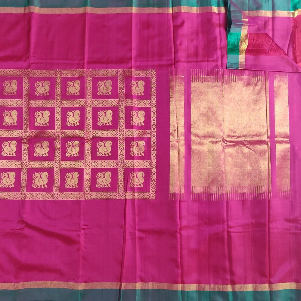Pink Peacock Mubbagam Kanchipuram Saree-8673