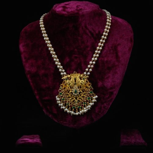 Gold-plated Silver Peacock Necklace-0