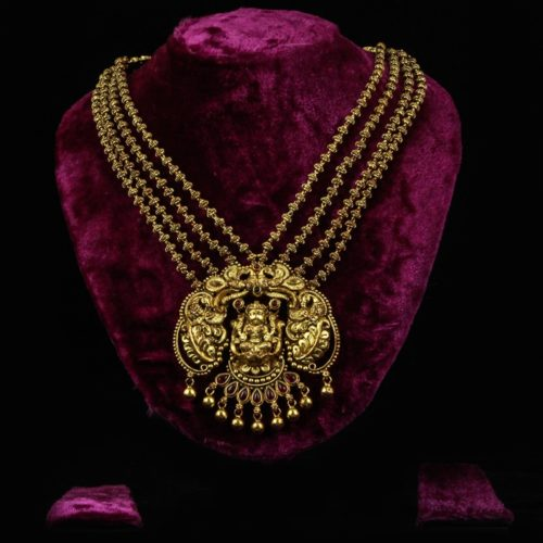 Laxmi-Gold-plated Silver Temple Necklace-0