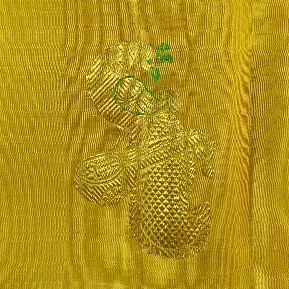 Golden Zari Yellow Kanchipuram Silk Saree-7652