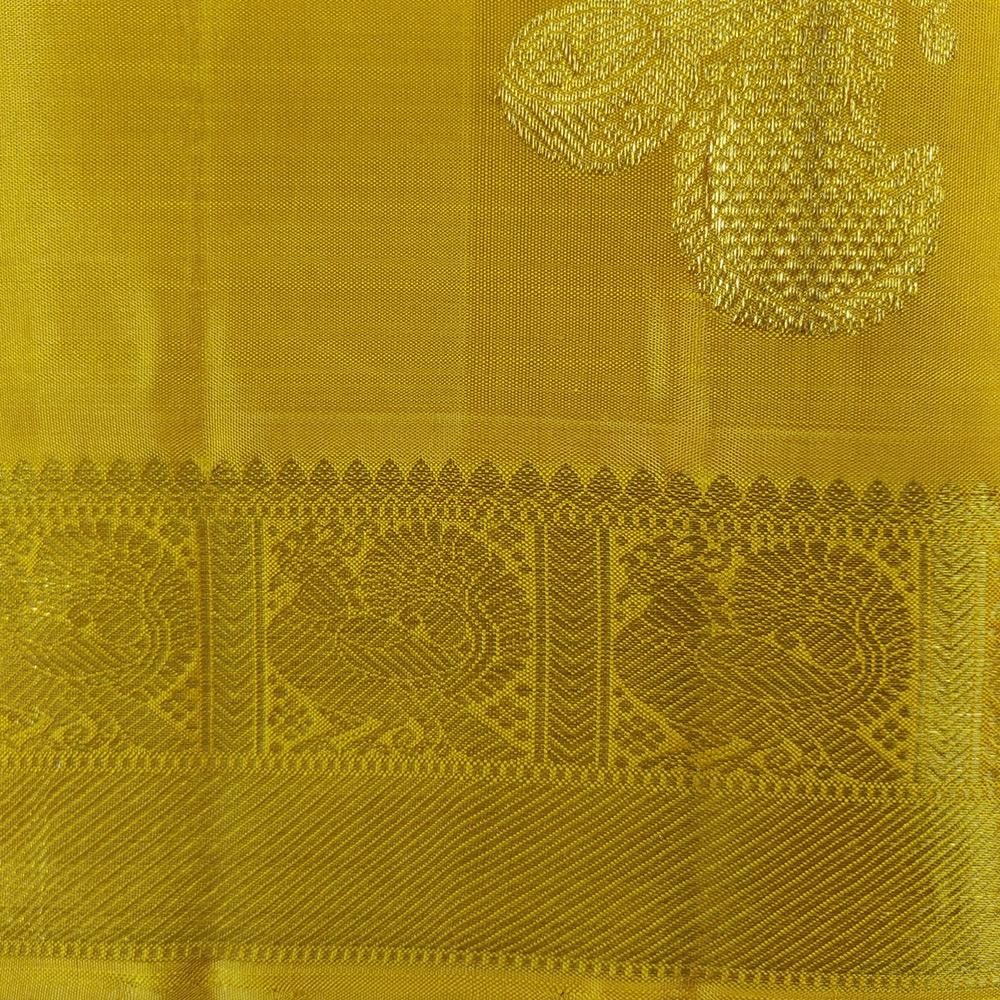 Golden Zari Yellow Kanchipuram Silk Saree-7649