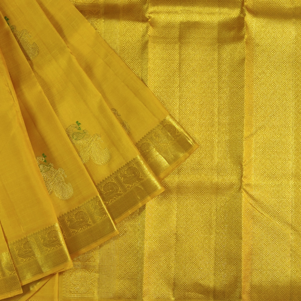 Golden Zari Yellow Kanchipuram Silk Saree-0