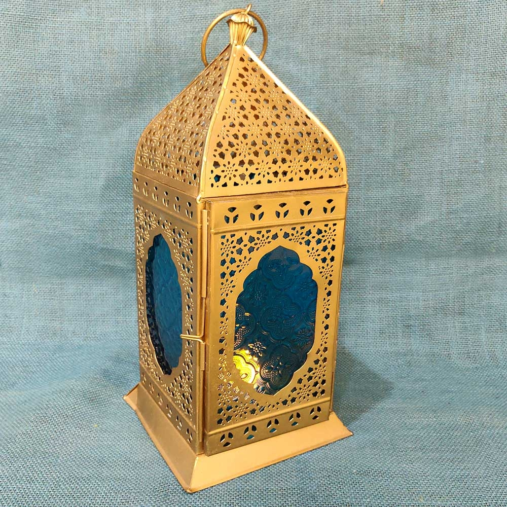 Metallic Tealight Holder with Blue Glass-8853