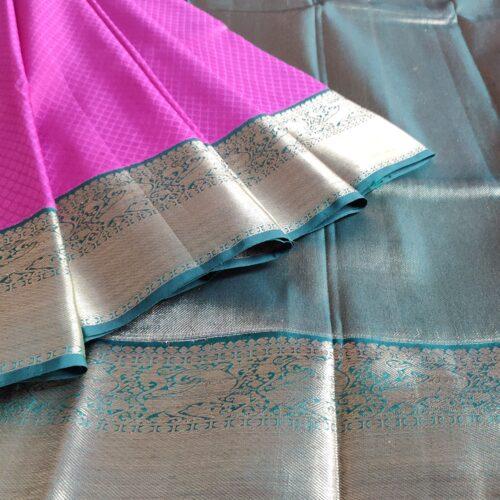 Fuchsia Pink And Blue Silver Zari Kanchipuram Silk Saree-0