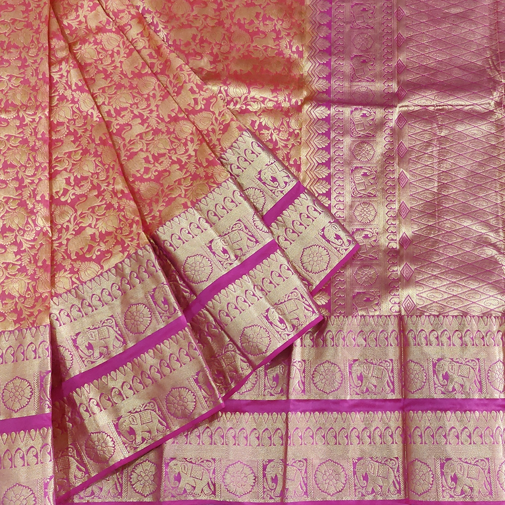 Orange Shikargarh Kanchipuram Saree-0