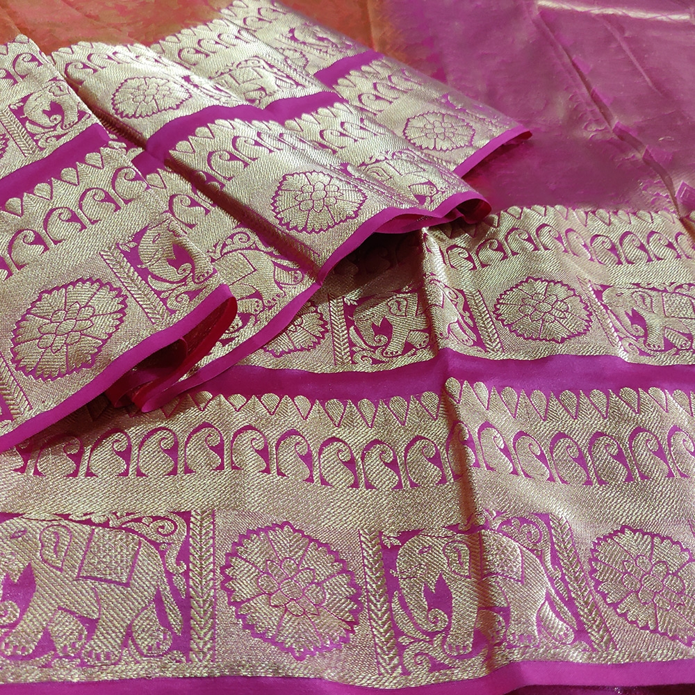 Orange Shikargarh Kanchipuram Saree-6880