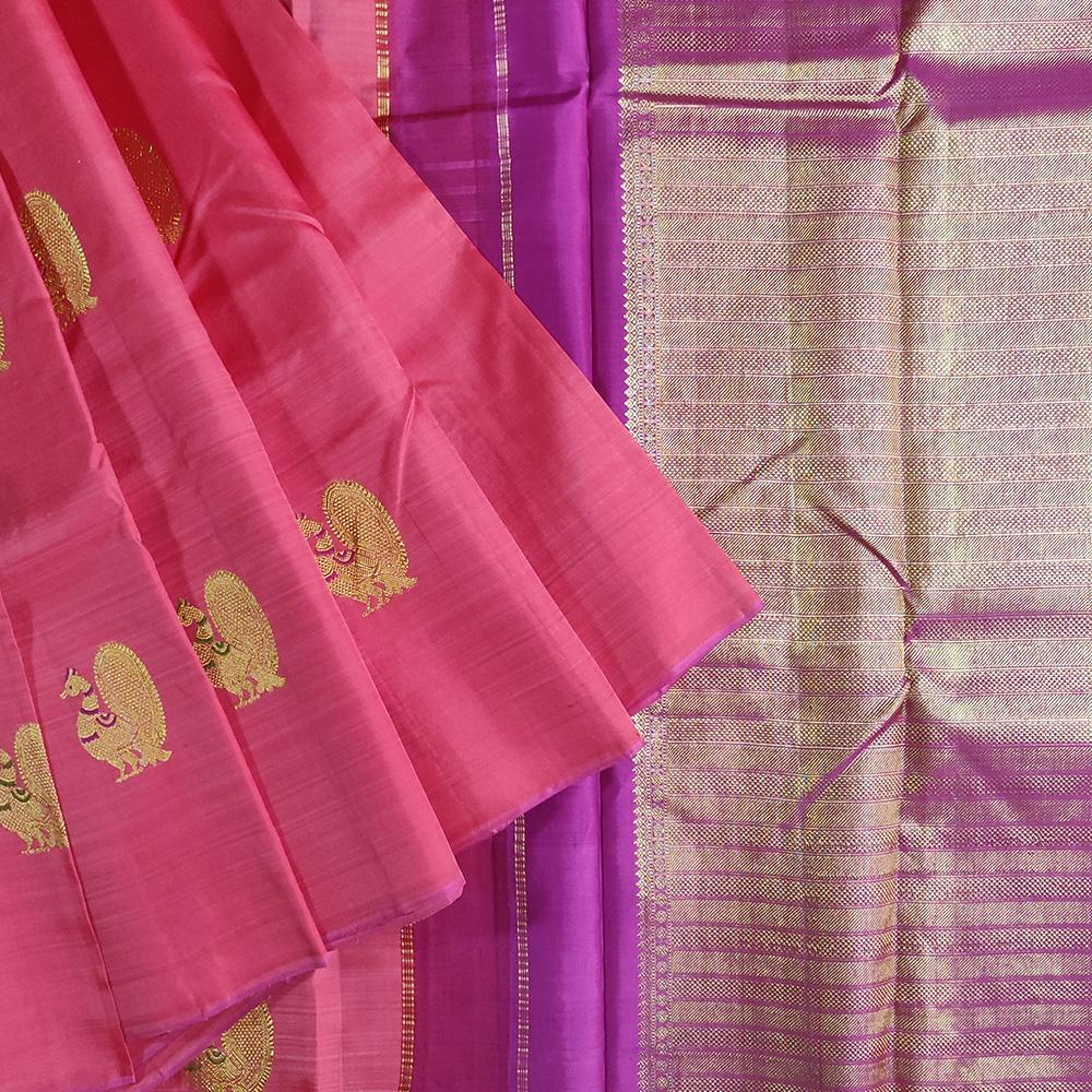 Pink and Purple Peacock Kanchipuram Silk Saree-0