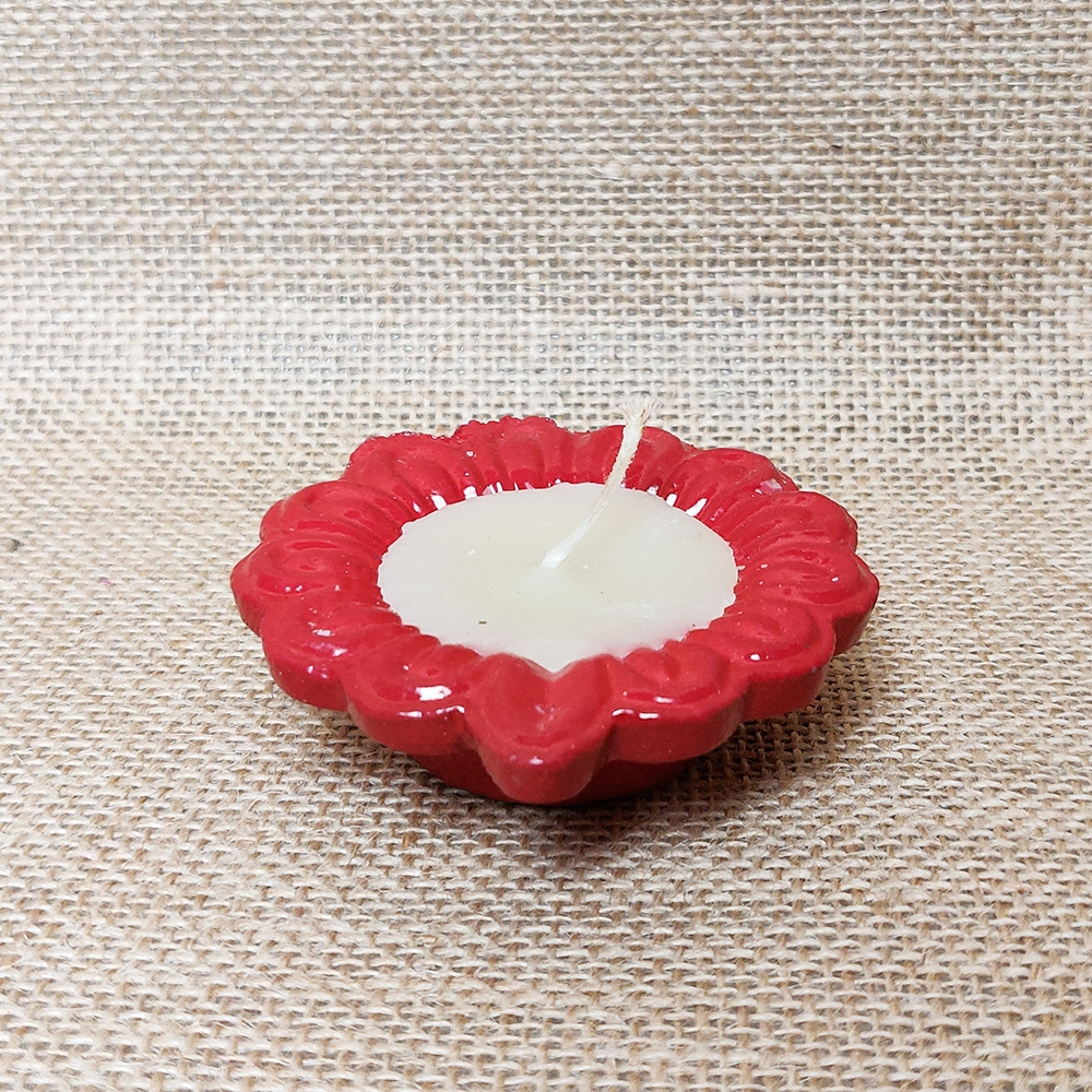 Red Coloured Earthen Wax Candles-0