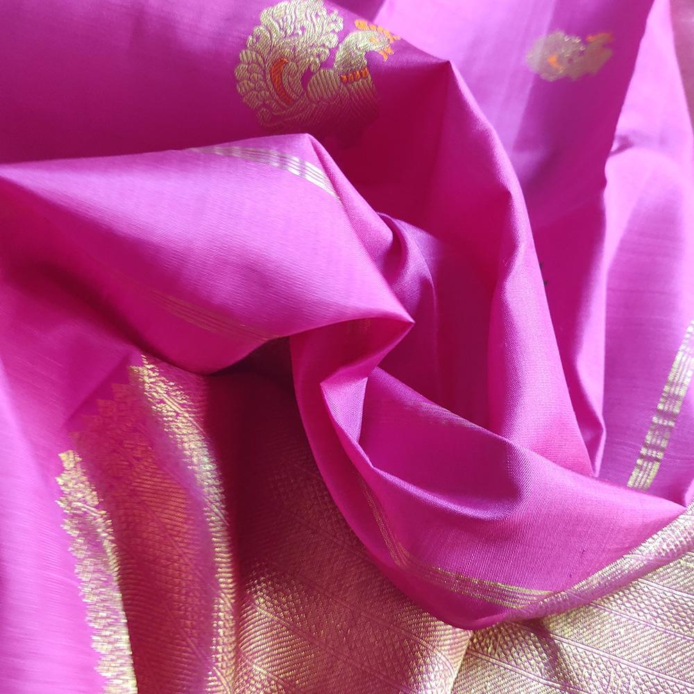 Peacock Magenta Kanchipuram Silk Saree-8793