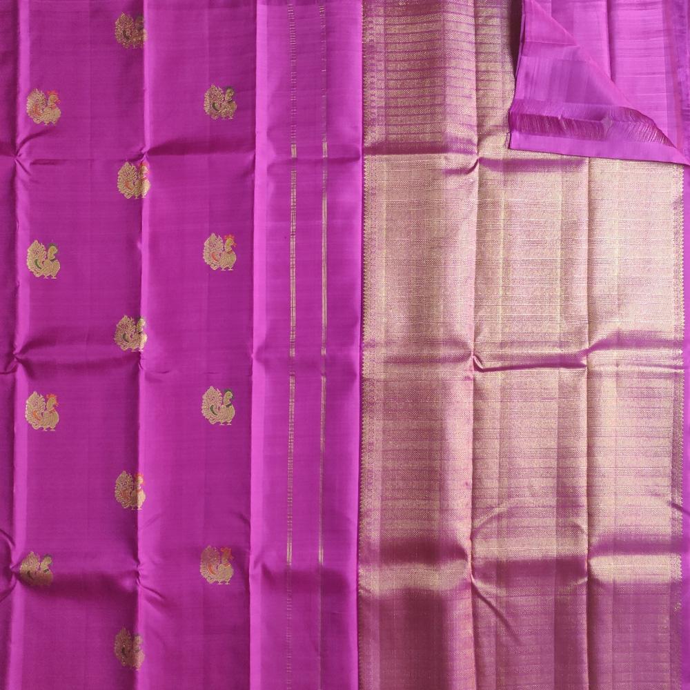 Peacock Magenta Kanchipuram Silk Saree-8791