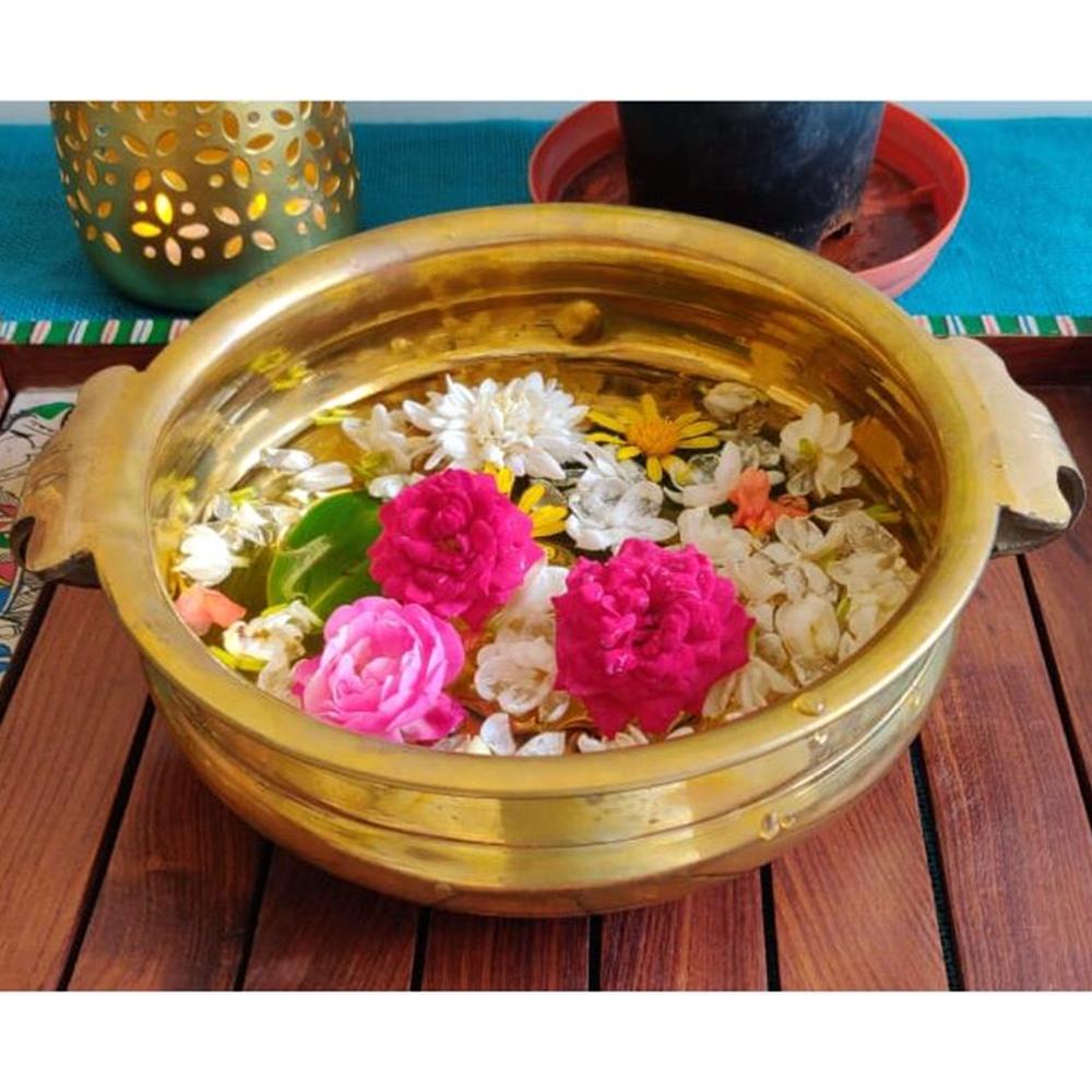 Brass Urli - Flower Bowl - Medium Size-0