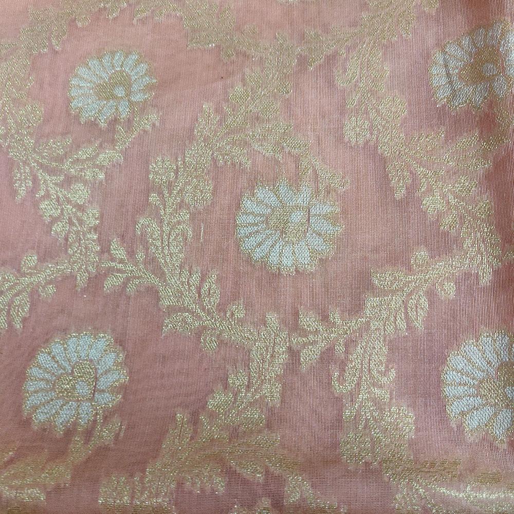 Misty Rose Pink floral Banarasi Silk Saree-8909