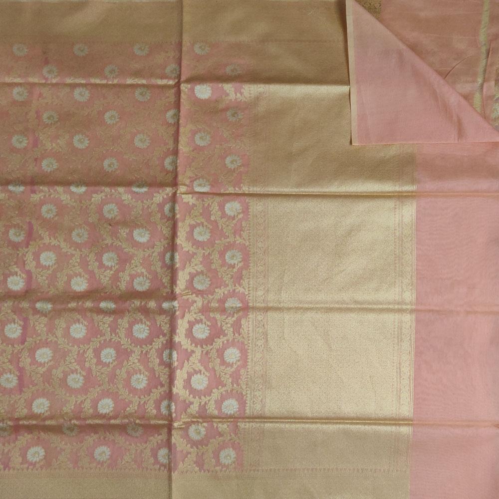Misty Rose Pink floral Banarasi Silk Saree-8911