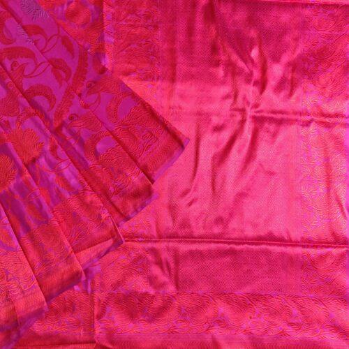 Pink and Red Banarasi Silk Saree-0
