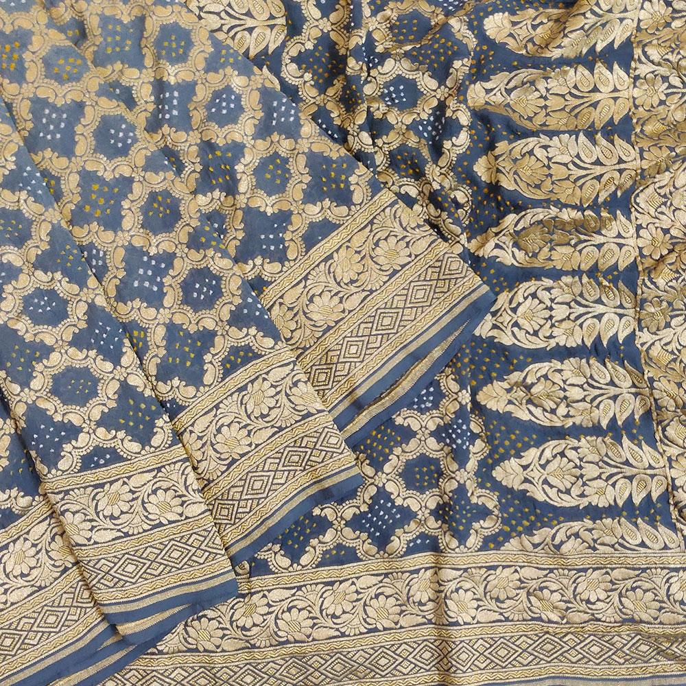 Indigo Blue Bandhej Silk Saree-9044
