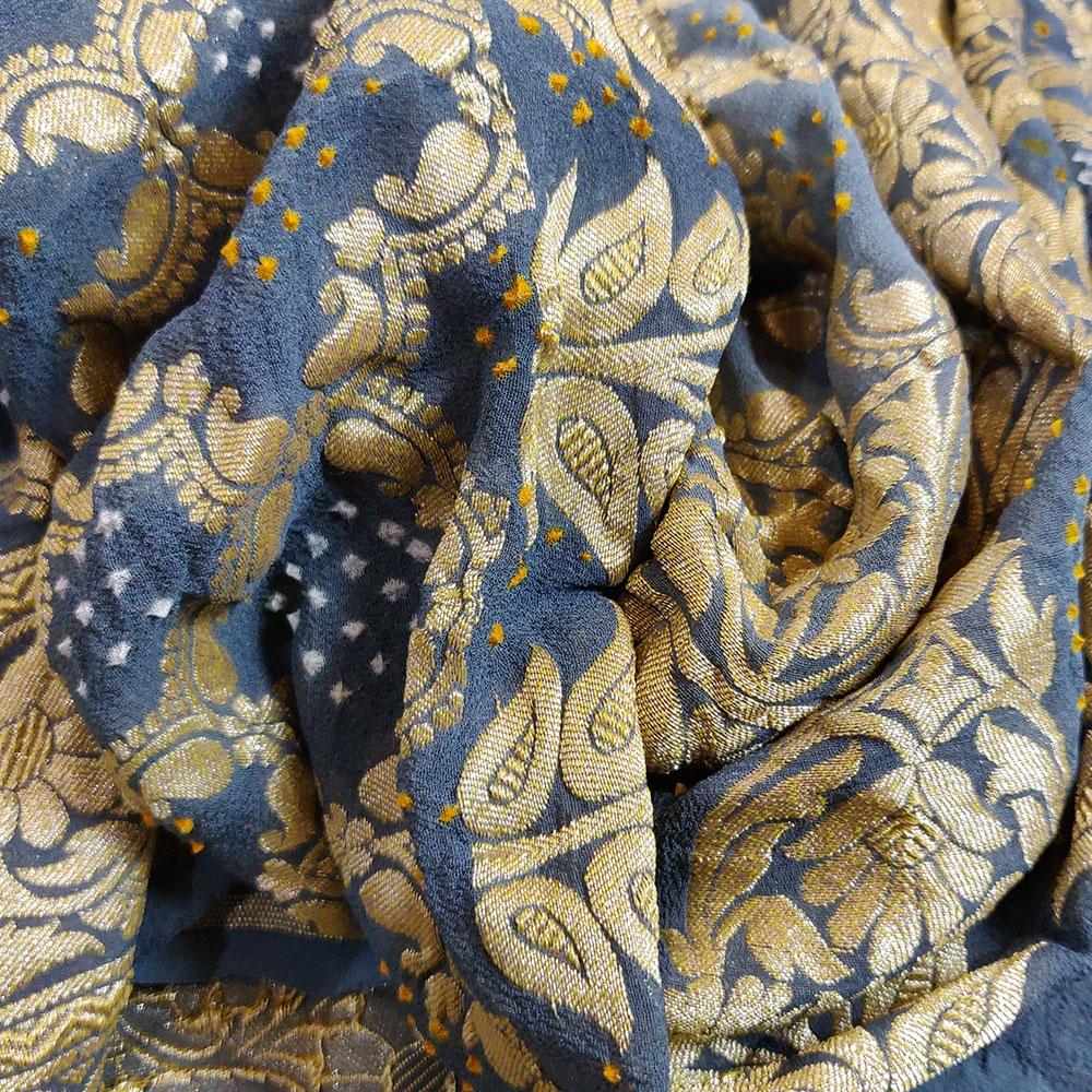 Indigo Blue Bandhej Silk Saree-9043