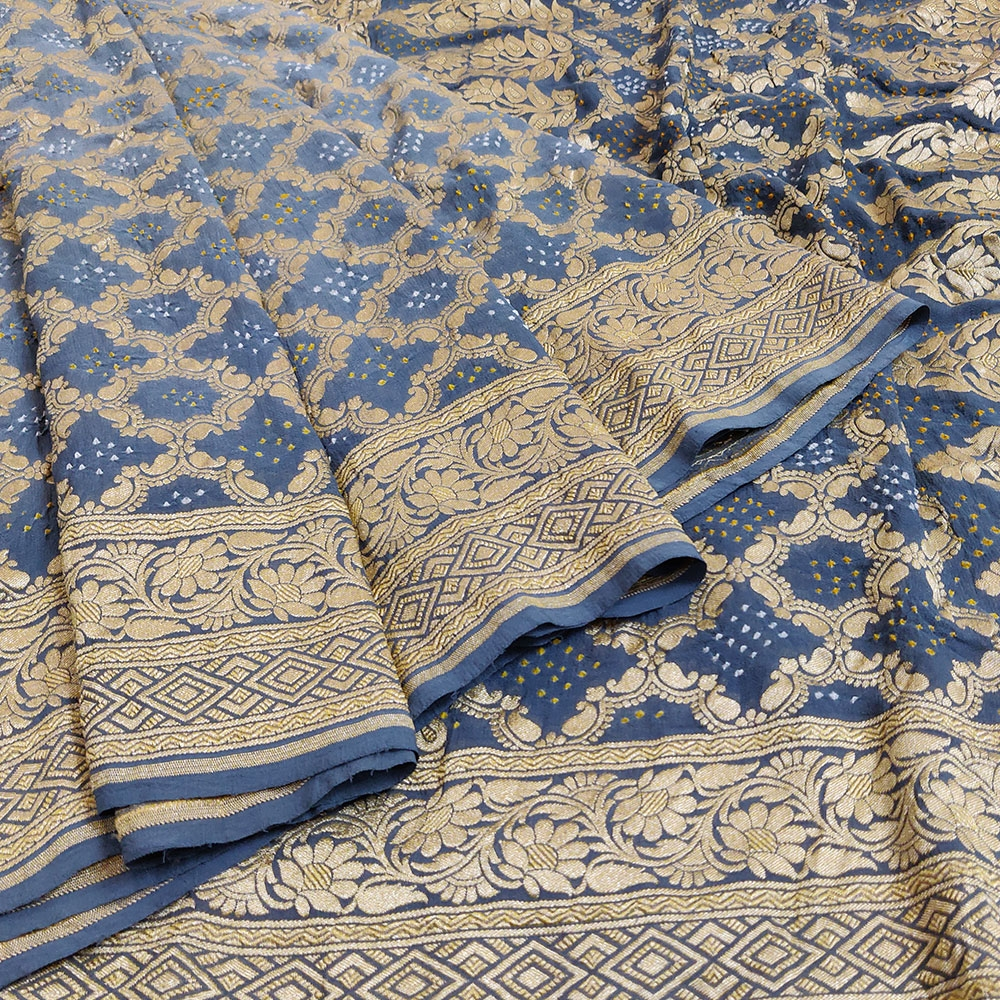 Indigo Blue Bandhej Silk Saree-0
