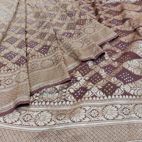 Rich Brown Bandhej Silk Saree-0