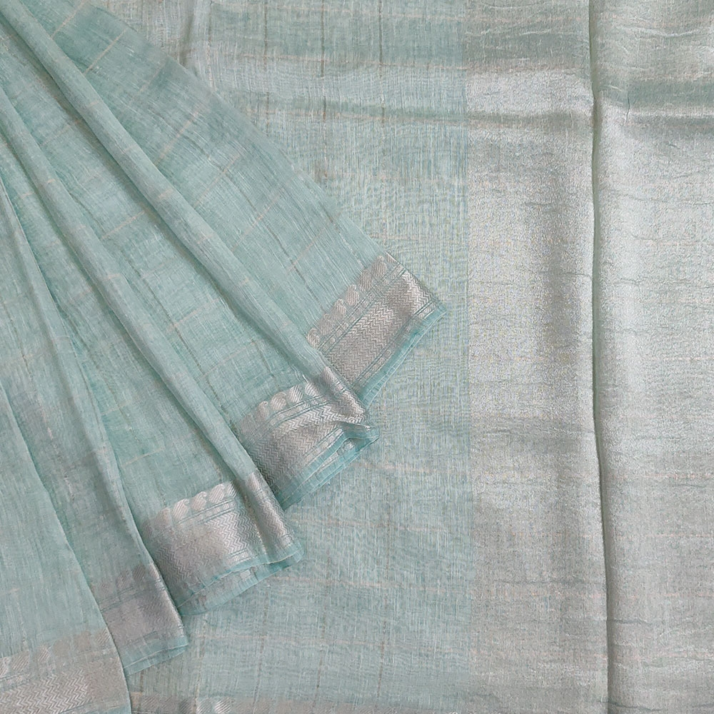 Mint Green Checkered Linen Saree-0