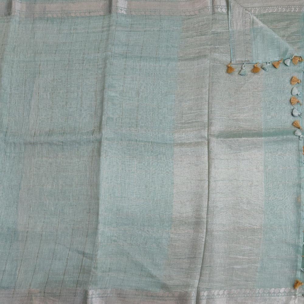 Mint Green Checkered Linen Saree-9077