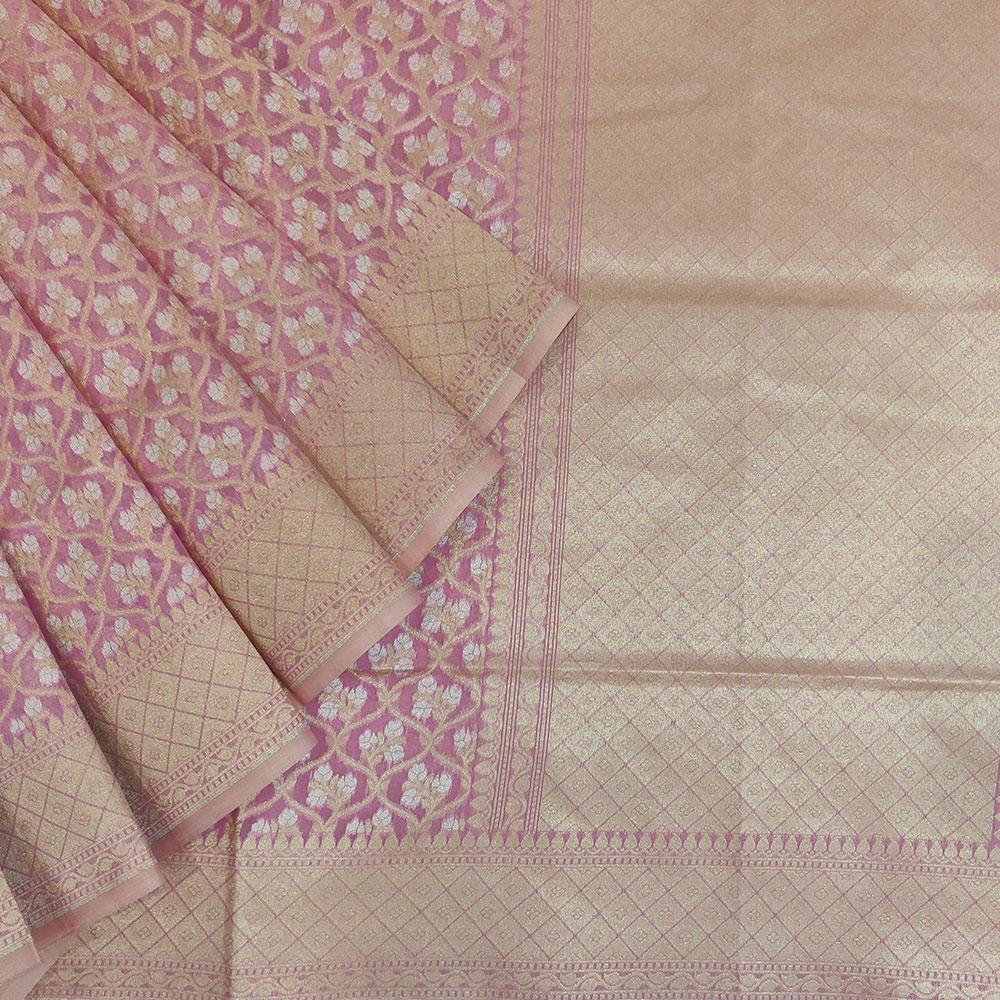 Candy Pink Banarasi Silk Saree-0