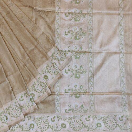 Beige Floral Banarasi Silk Saree -0