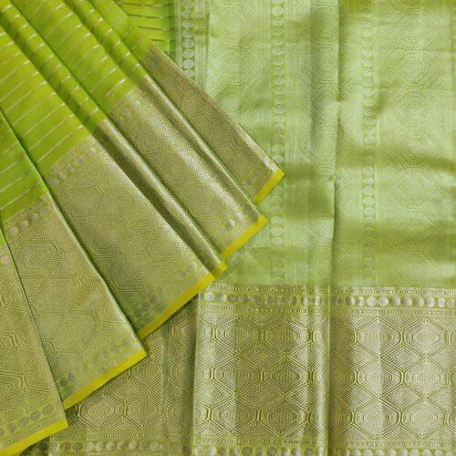 Parrot Green Kanchipuram Silk Saree with Geometric Pattern-0