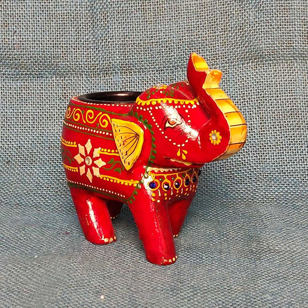 Wooden Elephant Tealight Holder (Red)-0