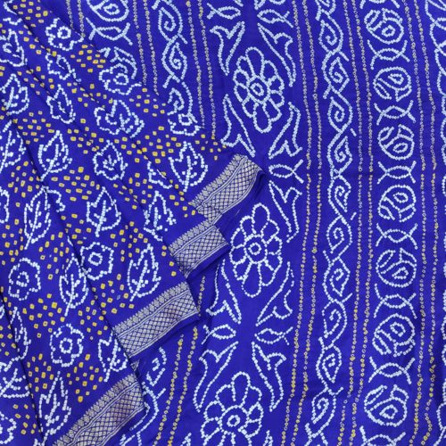 Royal Blue Bandhej Silk Saree-0