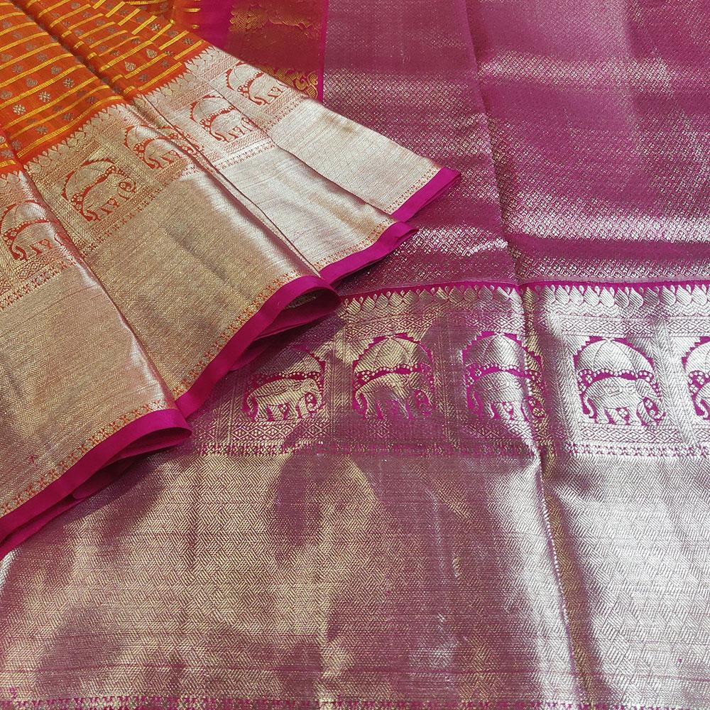Orange Red Kanchipuram Silk Saree-9296