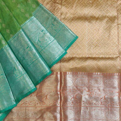 Green and Gold Kanchipuram Silk Saree-9298