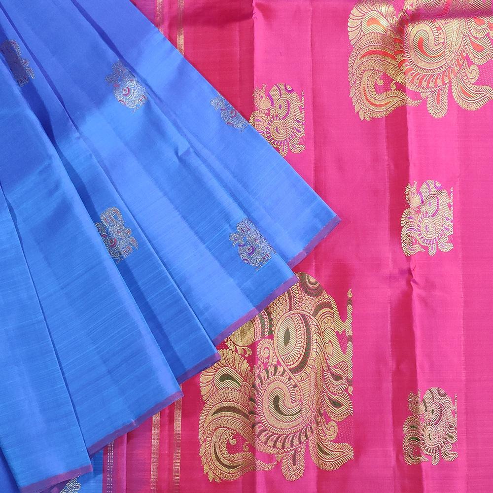 Blue And Pink Peocock Kanchipuram Saree-0