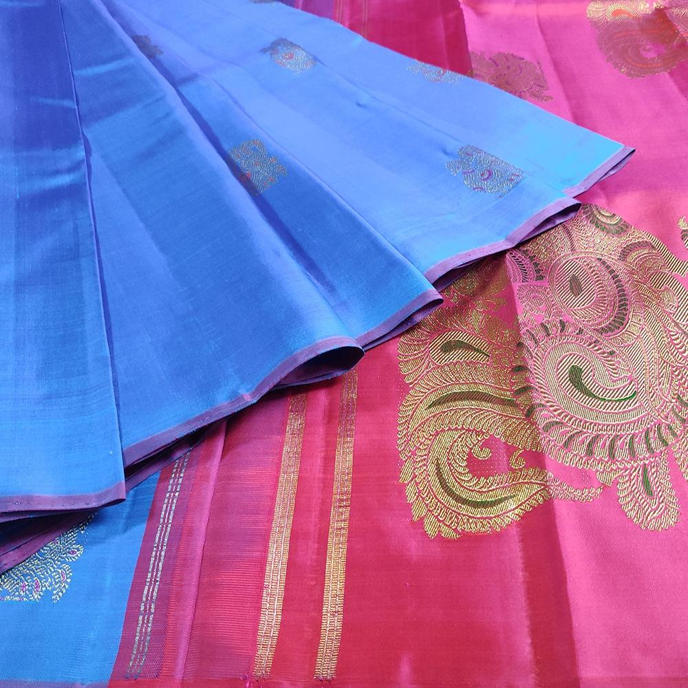 Blue And Pink Peocock Kanchipuram Saree-8616