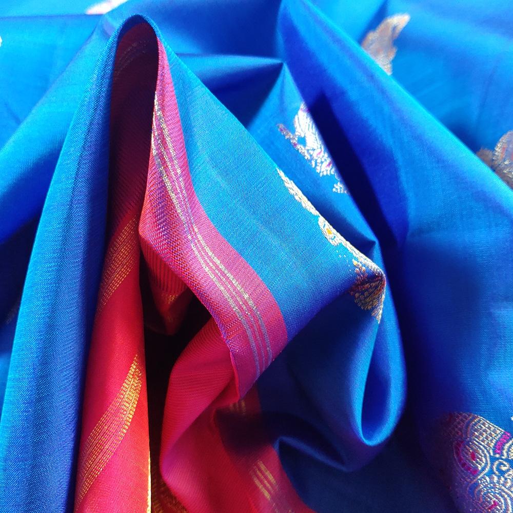 Blue And Pink Peocock Kanchipuram Saree-8615