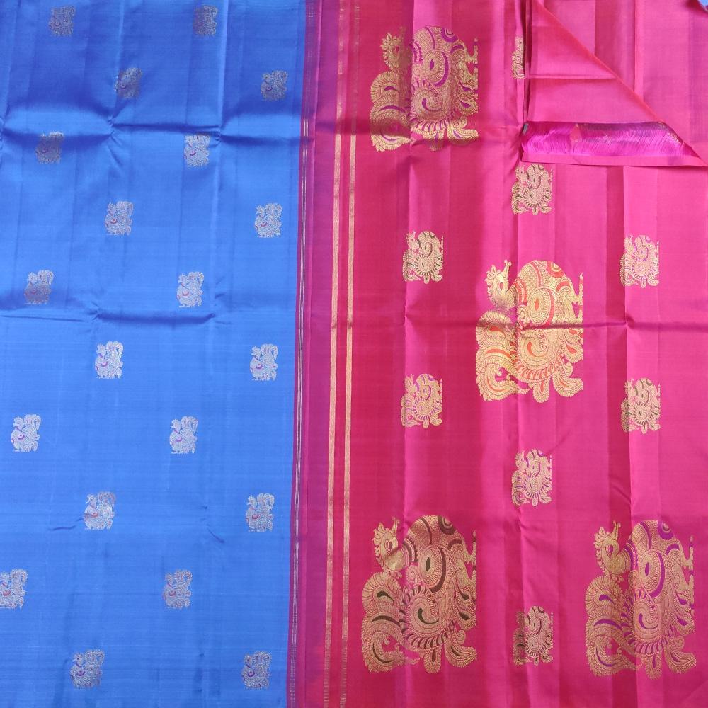 Blue And Pink Peocock Kanchipuram Saree-8613