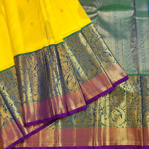 Yellow, Blue, Green And Purple Kanchipuram Silk Saree-0
