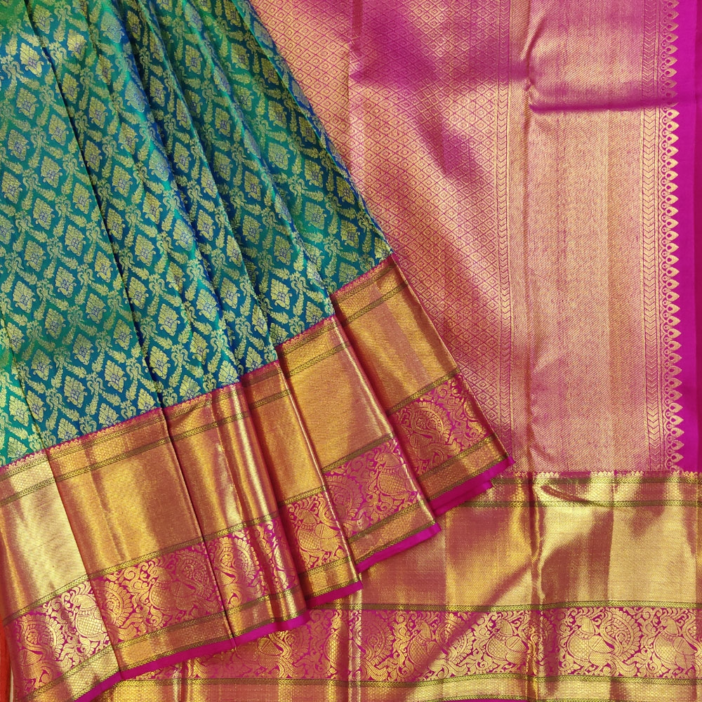 Pink And Emerald Green Kanchipuram Silk Saree-0