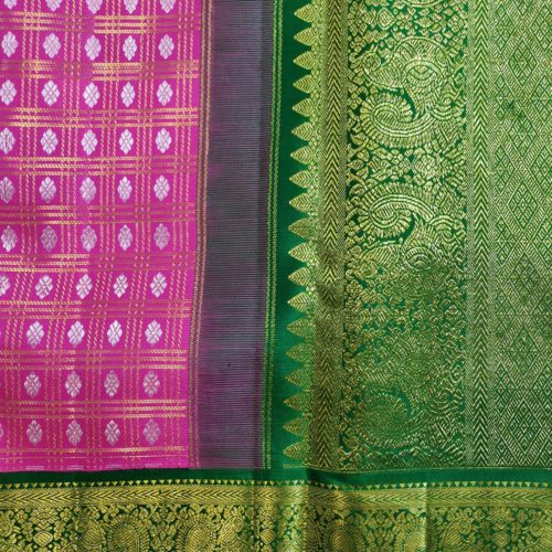 Pink and Green Kanchipuram Saree