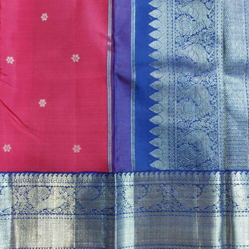 Red and Blue Kanchipuram Silk Saree-0