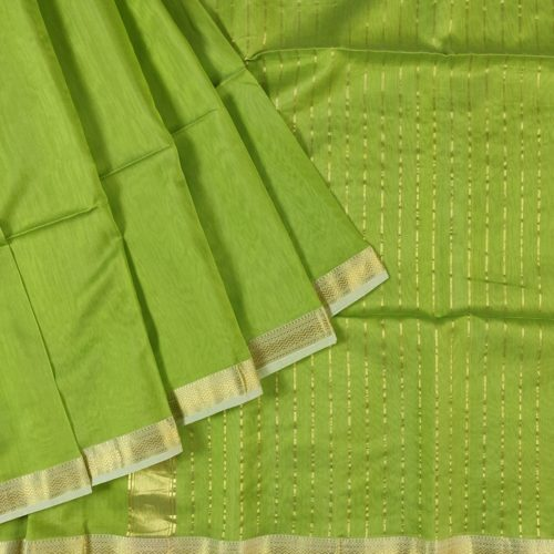 Green Plain Maheshwari Saree -0